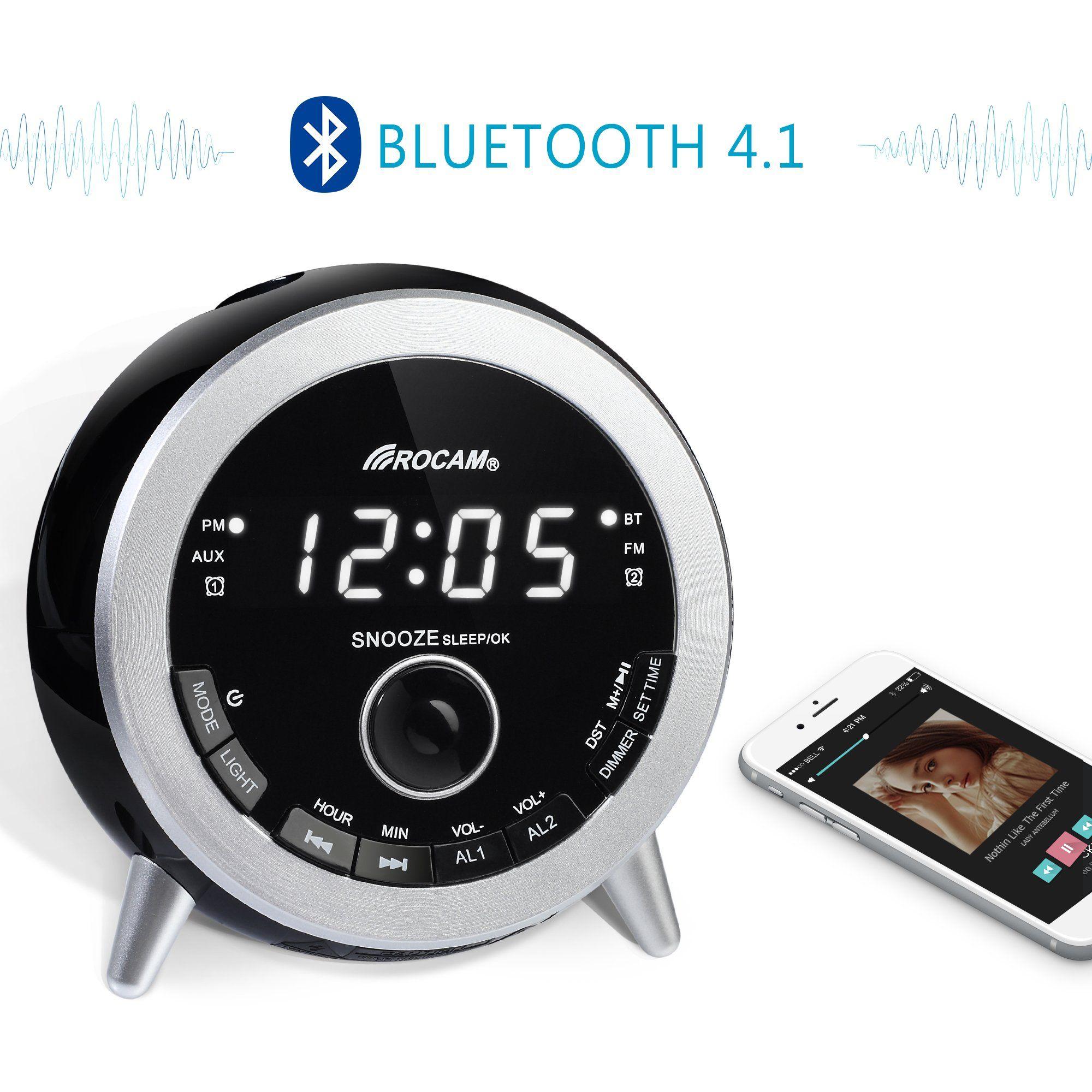 83ac2f8ee0c ROCAM Bluetooth Digital Alarm Clock Radio with FM Radio Dual Alarm Snooze Night  Light LED Display