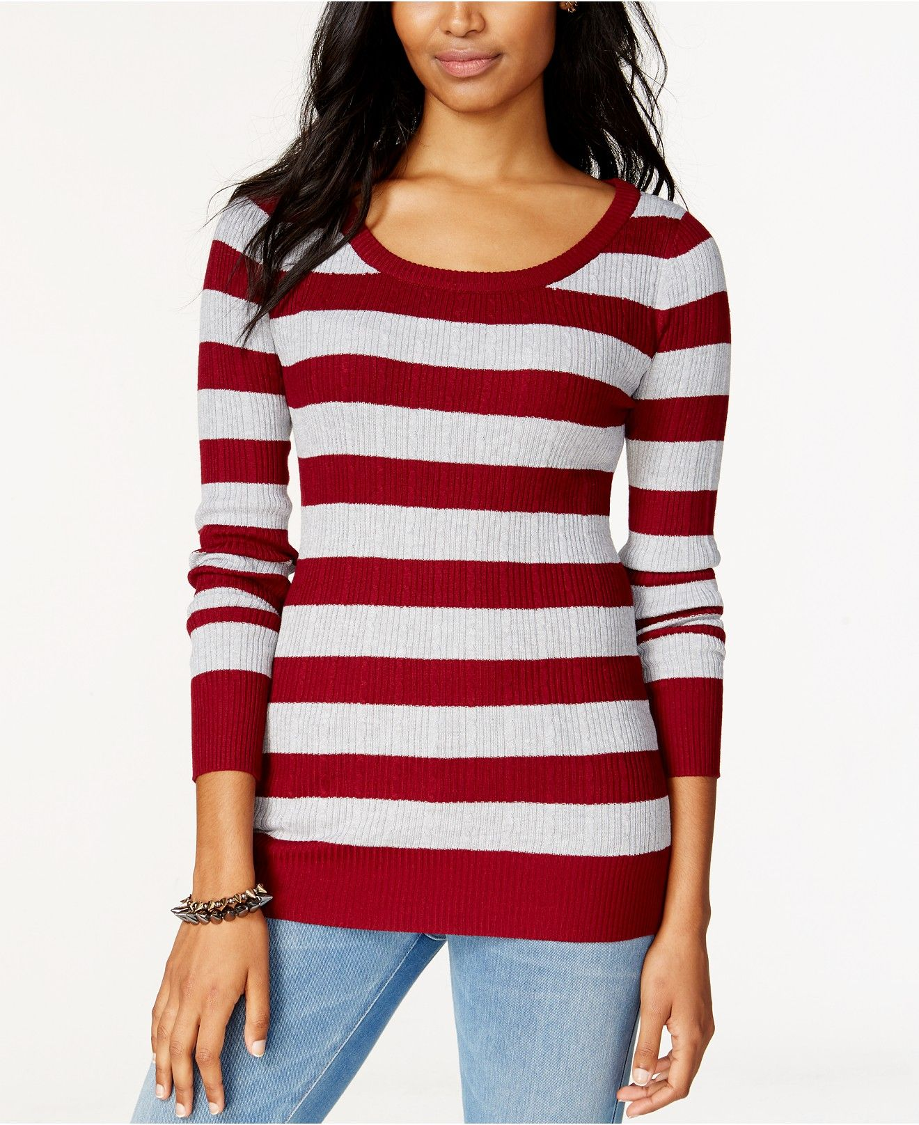 Pink Rose Juniors' Striped Rib-Knit Pullover Sweater - Juniors ...