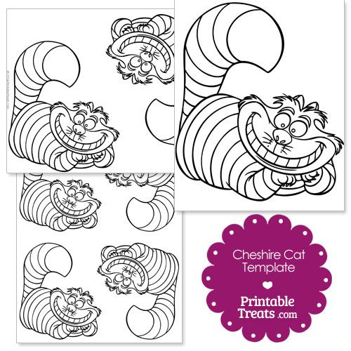 Free Printable Cheshire Cat Template from PrintableTreats.