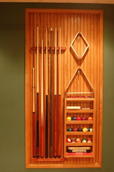 Pool Rack Set Into Wall Man Cave Home Bar Pool Table Room Game Room Basement