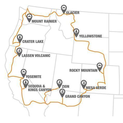 Visit National Parks Along The National Park To Park Highway - Us travel planning map