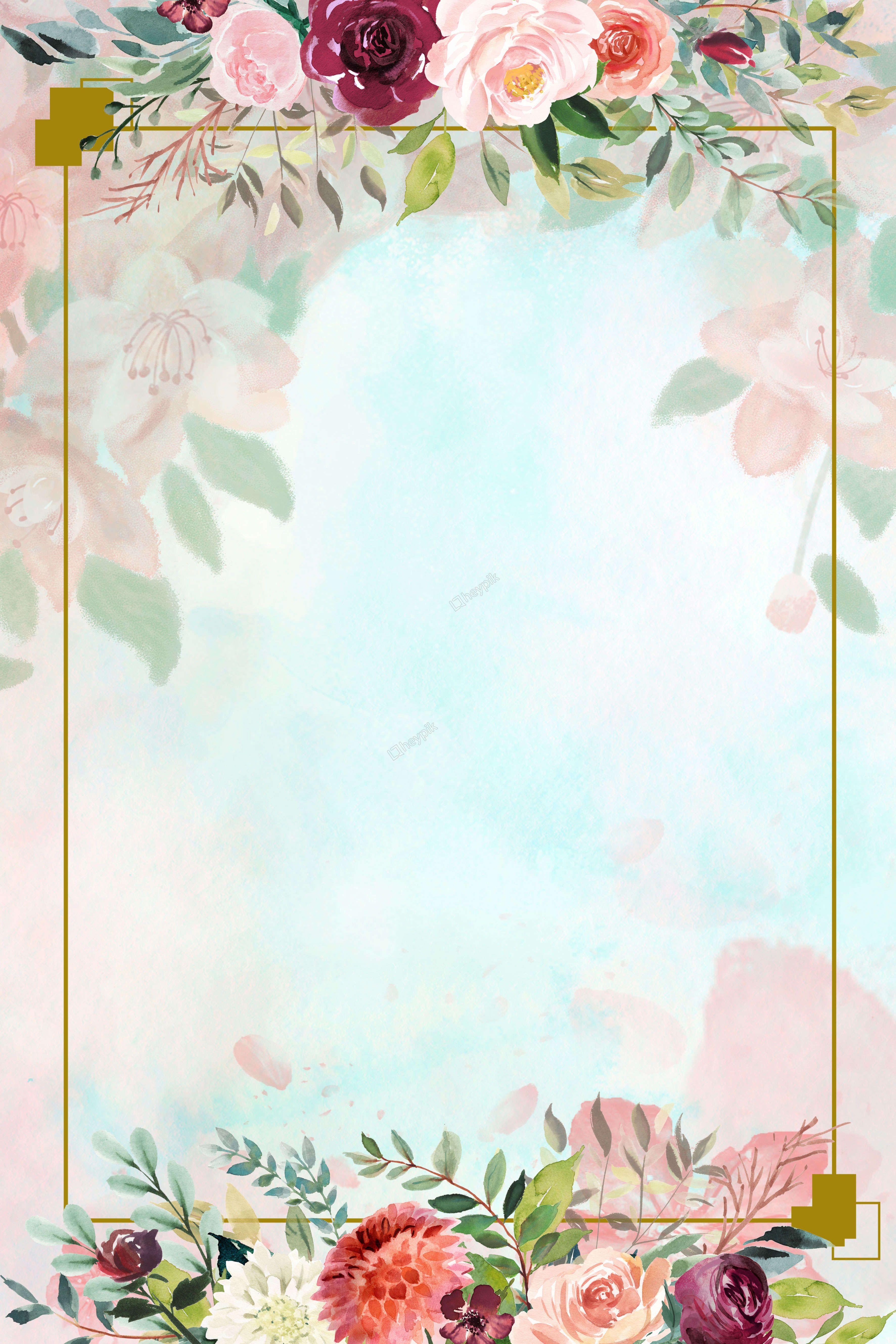 Floral border fresh background poster creative