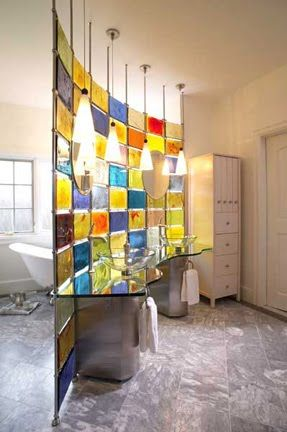Make your own stained glass partition in the bathroom Do It