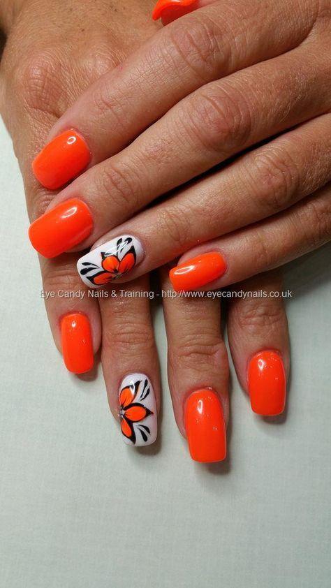 Orange fever gel polish with freehand gel flower nail art
