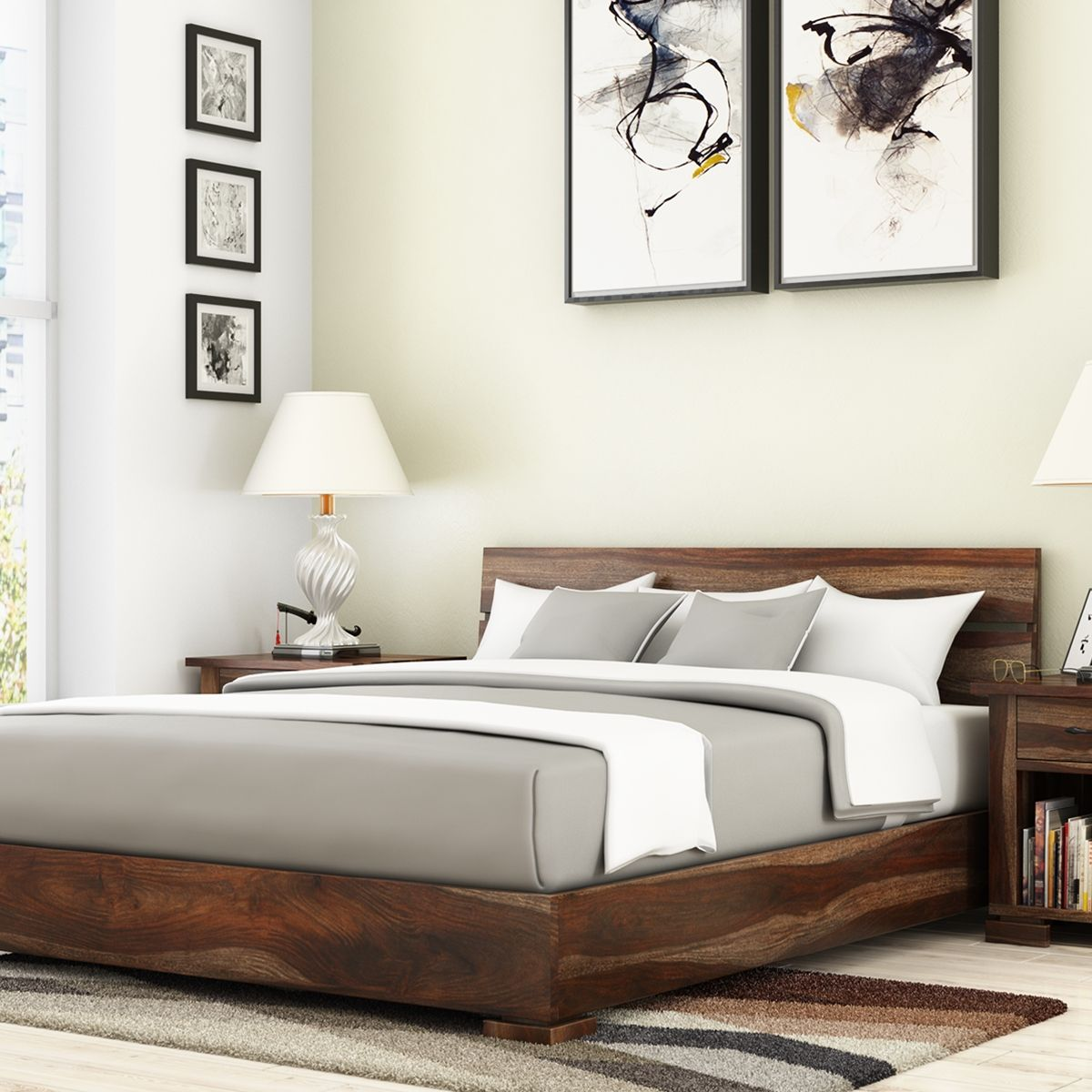 Athena Handcrafted Solid Wood Platform Bed Solid wood