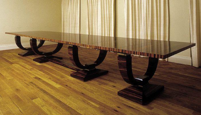 Macassar Ebony Extending Dining Table   Art Deco Inspired