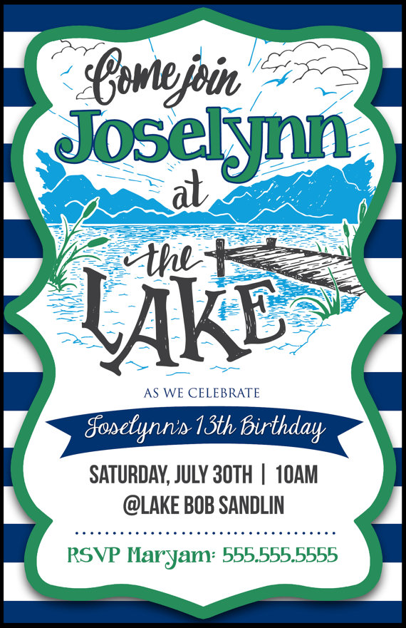 Fun at the Lake Birthday or Party Invitation by LeeshaLooDesignz