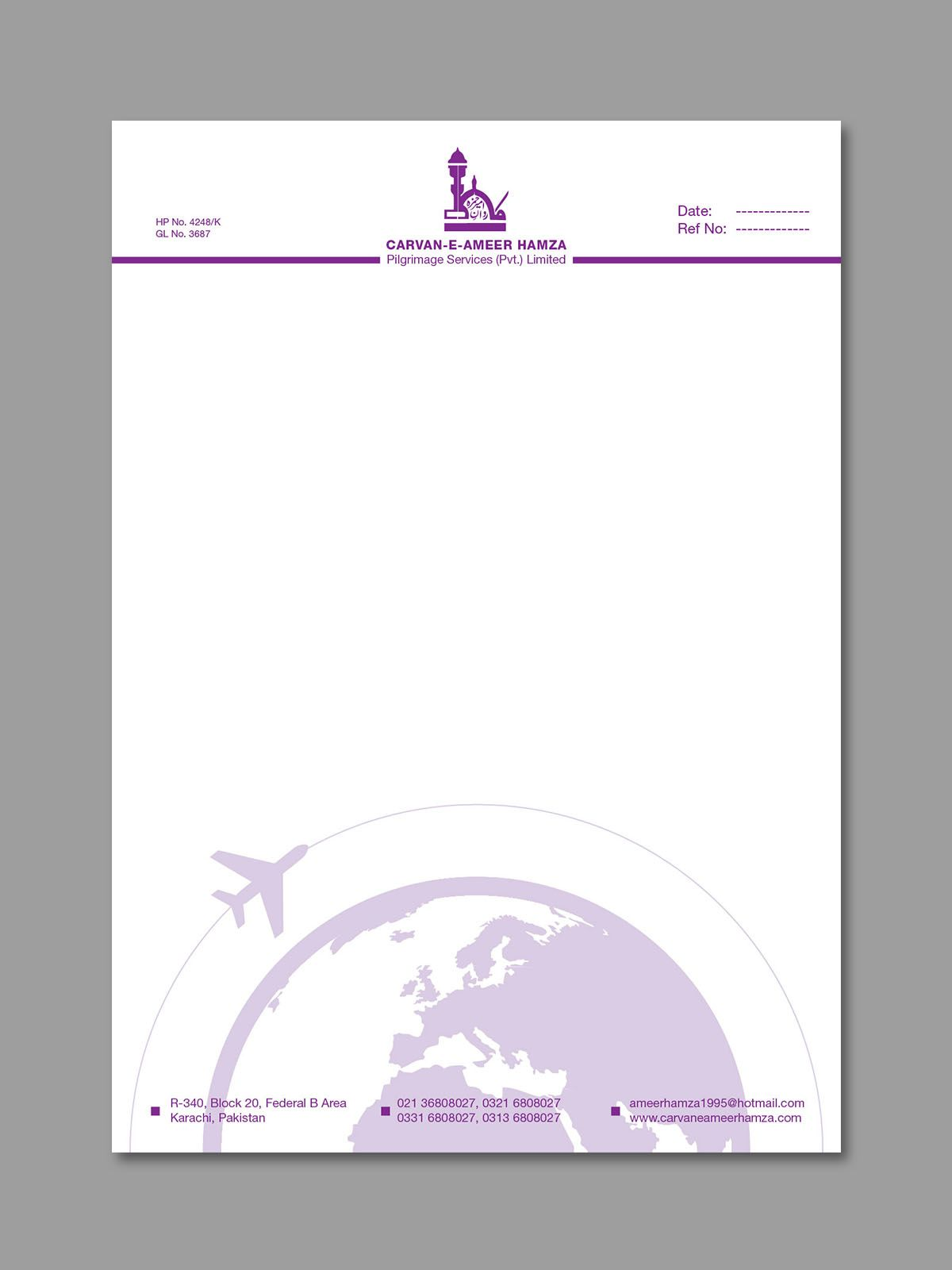 Purple A4 Letter Head Design for Travel Agency  Design Concepts  Letterhead design Letterhead