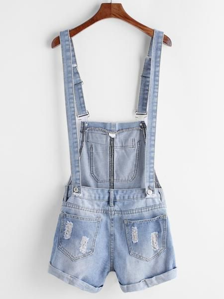 Blue Double Wear Distressed Cuffed Denim Overall Shorts