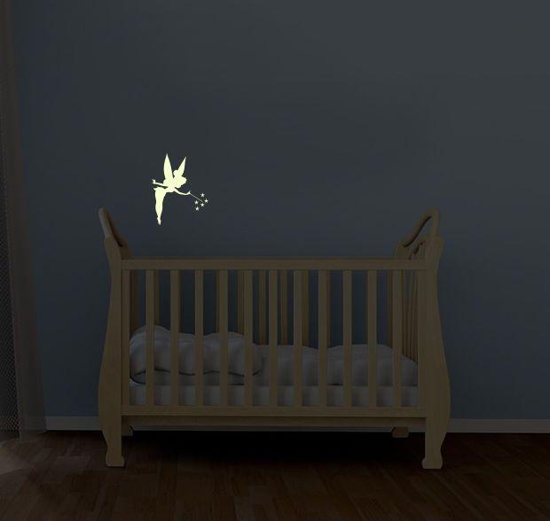 tinkerbell illuminous glow in the dark kids wall art decal stickers