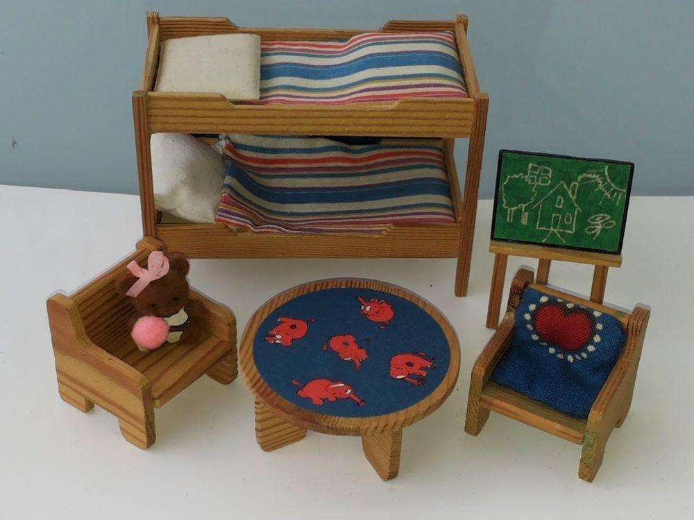 Etagenbett Puppenstube : Puppenstube lundby 70 80er kinderzimmer etagenbett tafel tisch