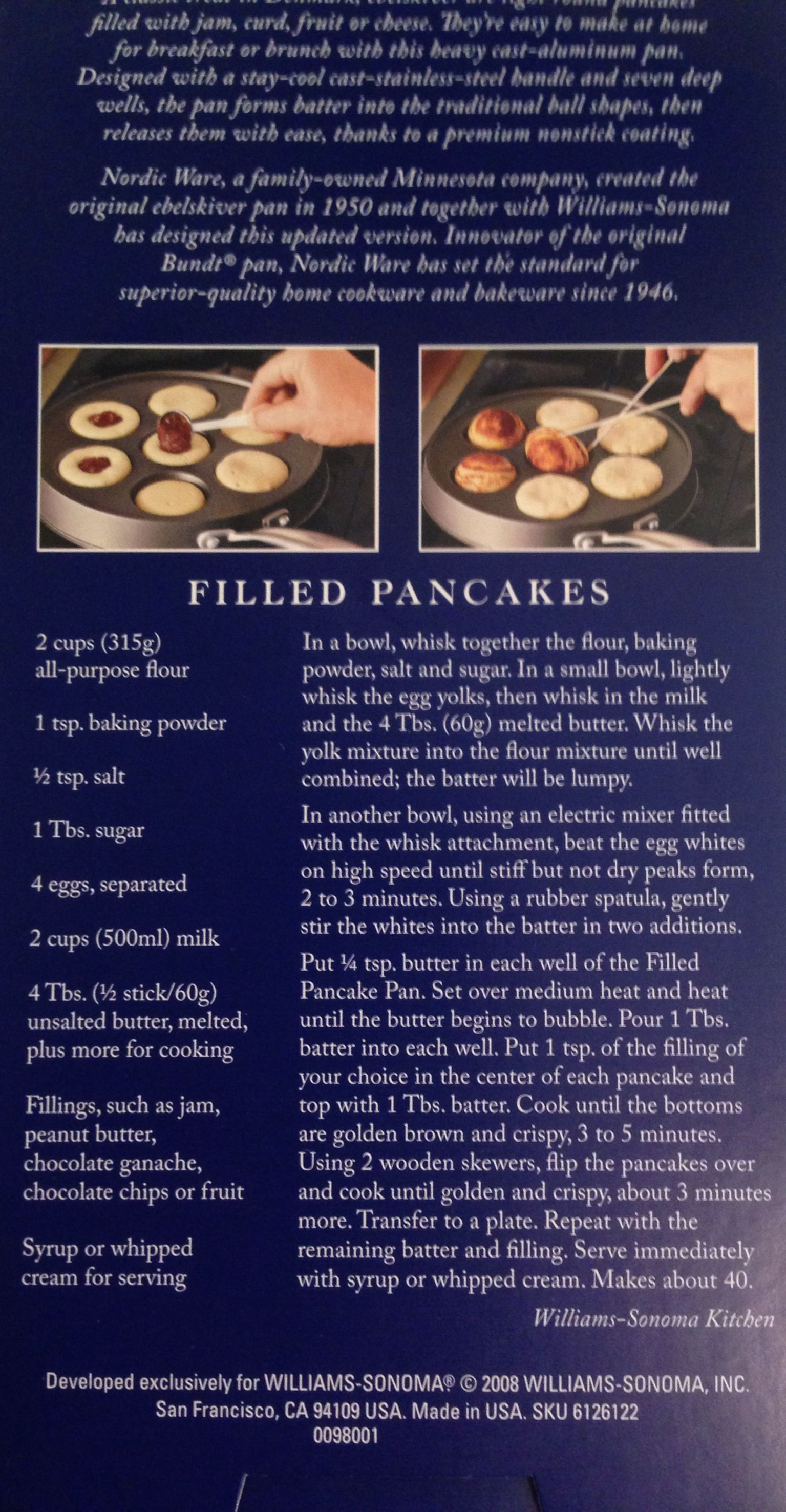Photo of Williams-Sonoma Ebelskiver filled pancake recipe