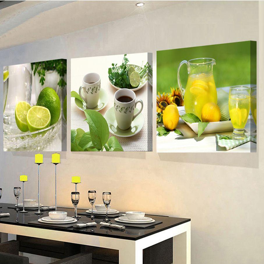 3 Panels gemälde für die küche obst wand-dekor moderne leinwand ...