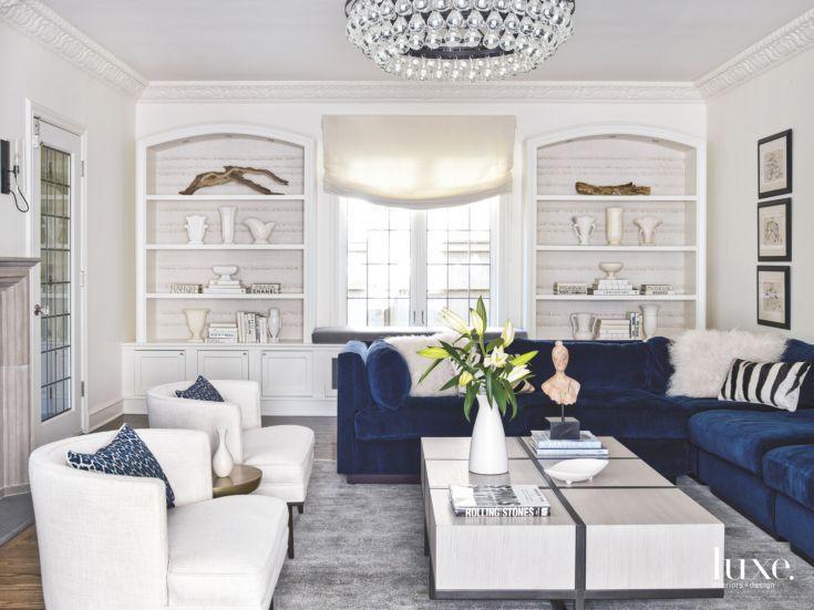 Color Pop Blue Velvet Sofa In White Living Room Blue Sofas Living Room Living Room White Blue And White Living Room