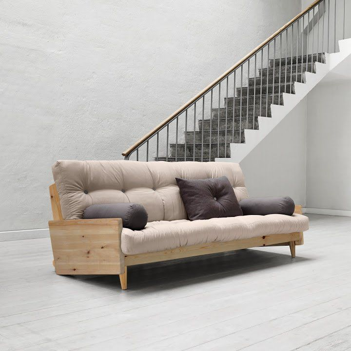 Canapé 3/4 Places Convertible Indie Style Scandinave Futon Taupe