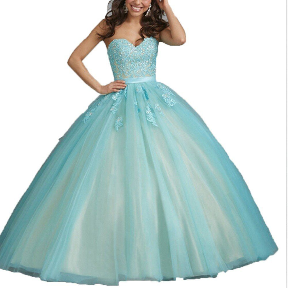 b5f1114802b Diandiai Sweetheart Quinceanera Dresses Appliques Ball Gown Prom dress Mint  10. The Dress fabric is