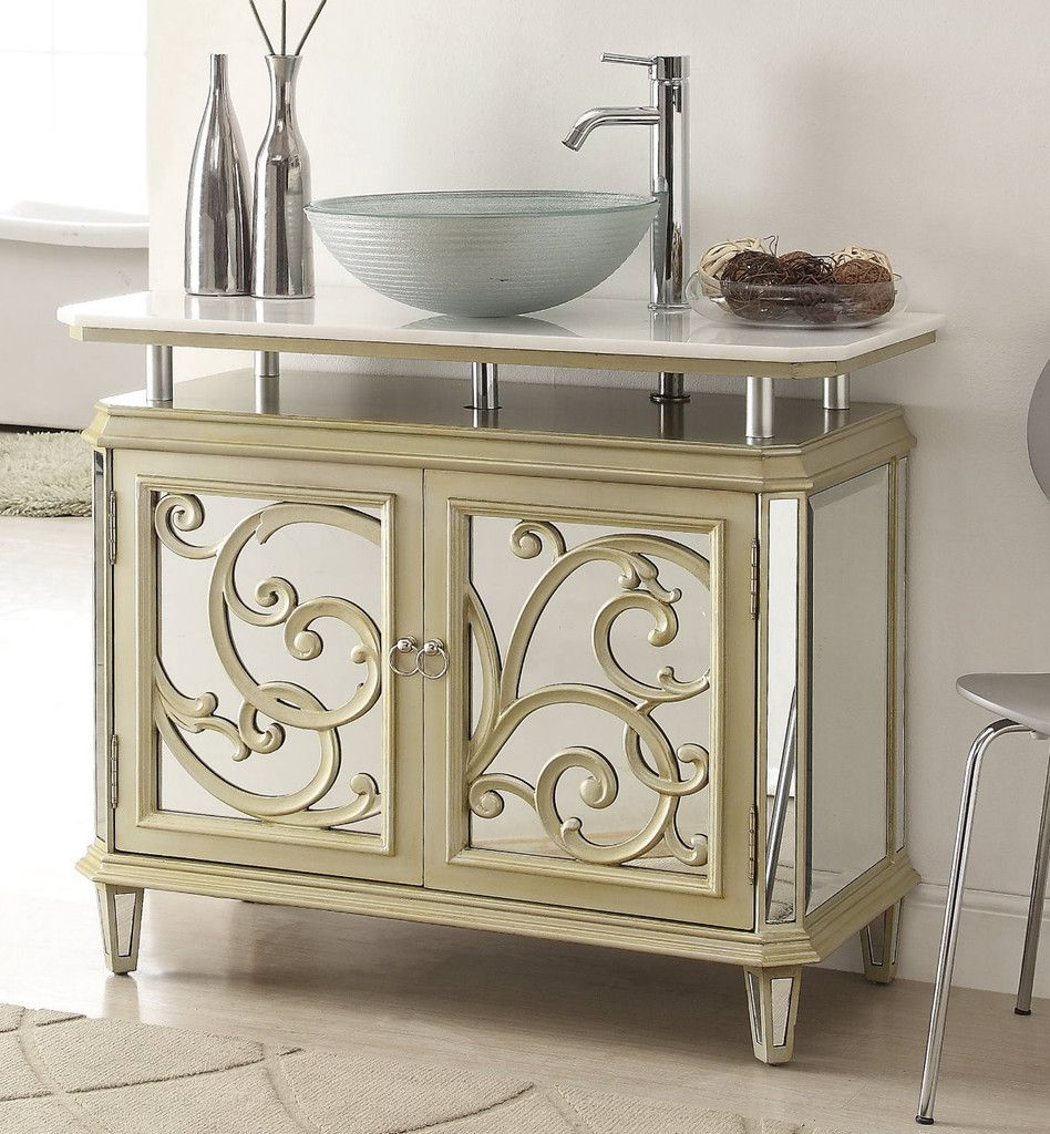 Adelina 38.5 inch Mirrored Reflection Vessel Sink Bathroom Vanity chest  features a smooth, finished design