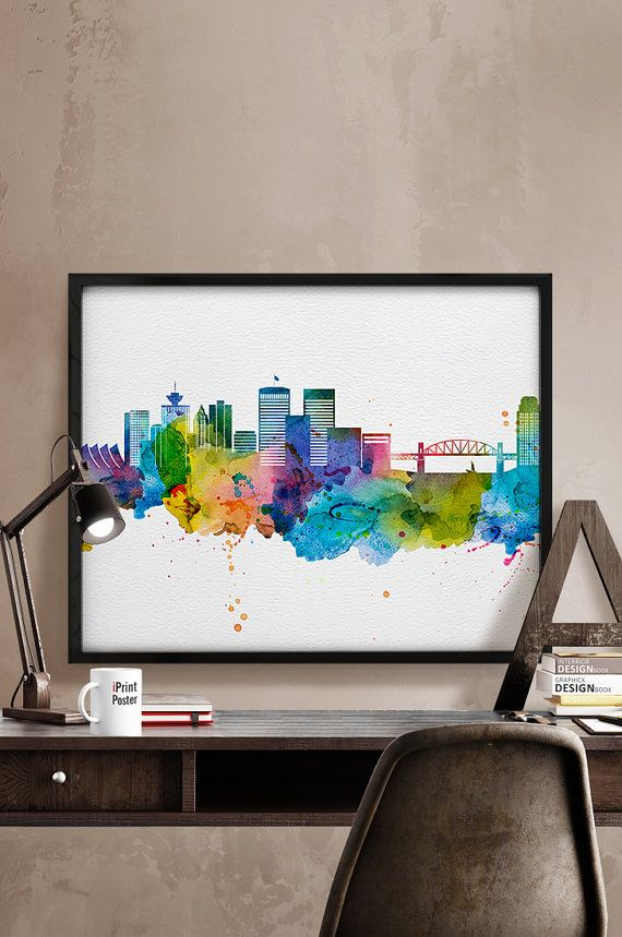 Vancouver Art Print Poster Vancouver Watercolour Skyline Travel Canada Wall Art City Prints Gift Travel Home Decor Iprintposter