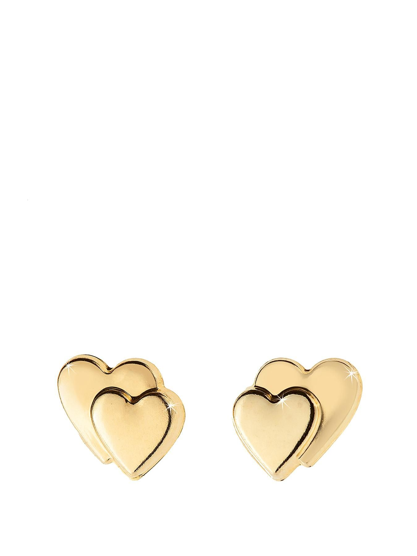 Beautiful Double Heart Studs Make A Pretty Addition To Any Jewellery Collection Lovingly Manufactured And Hand Finished In The Uk From 9ct Yellow Gold