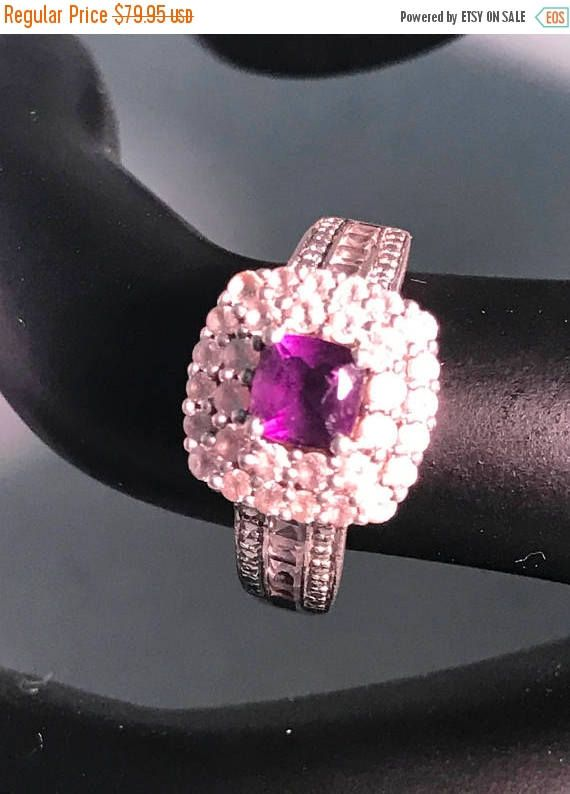 ON SALE Amethyst Sterling Silver Ring White Sapphire Accents ...