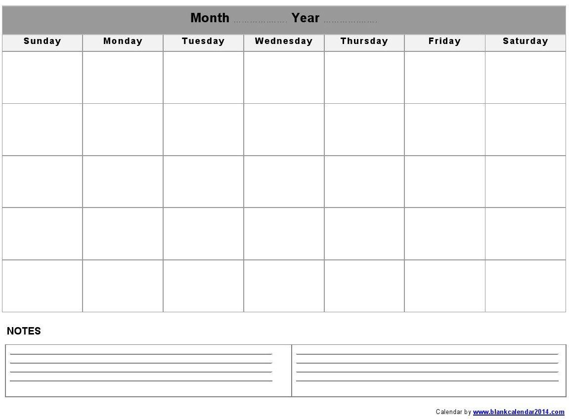 Monthly Calendar - Printable Calendar Blank Template ...