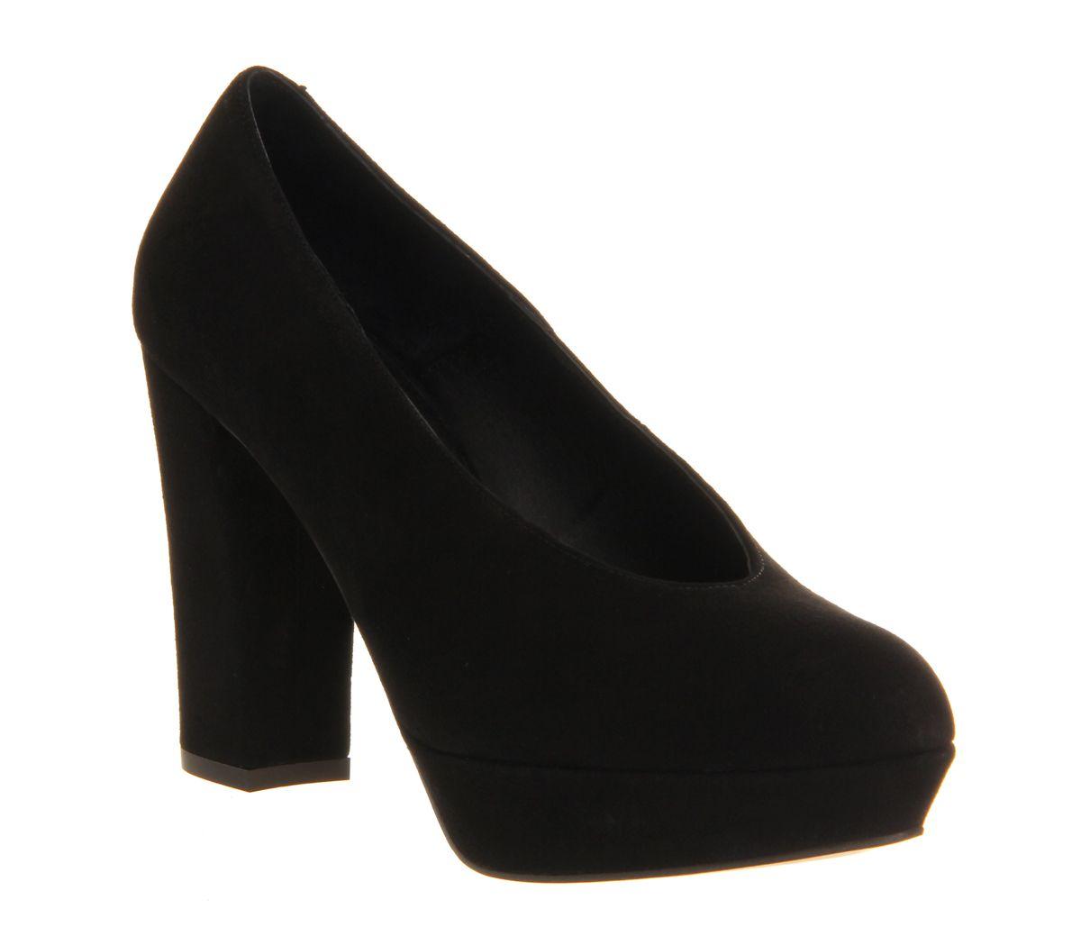 Office Jolene Platform Court Black Suede - High Heels