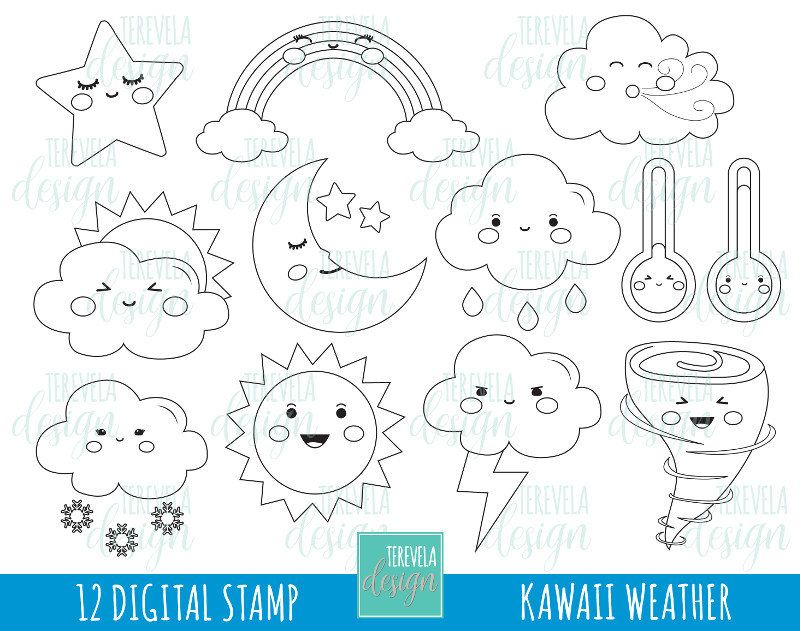 Weather Digital Stamps Weather Digi Stamps Commercial Use Weather Coloring Page Raimbow Cloud Rain Images Kaw Digital Stamps Kawaii Weather Coloring Pages