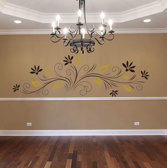 Floral Elements With Leaves Wall Sticker   These Widespread Wall Decals And  Stickers Show A Striking Design Pattern Made From Breathtaking Combination  Of ...