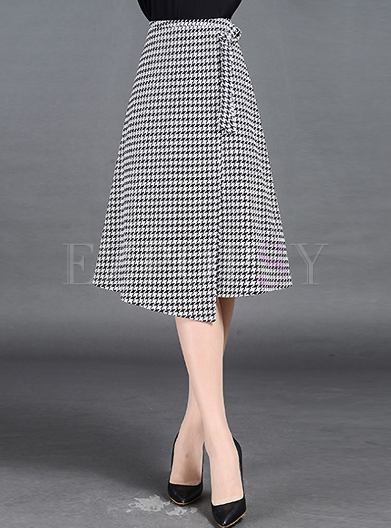 British Plaid Print Asymmetric Patch A-line Skirt