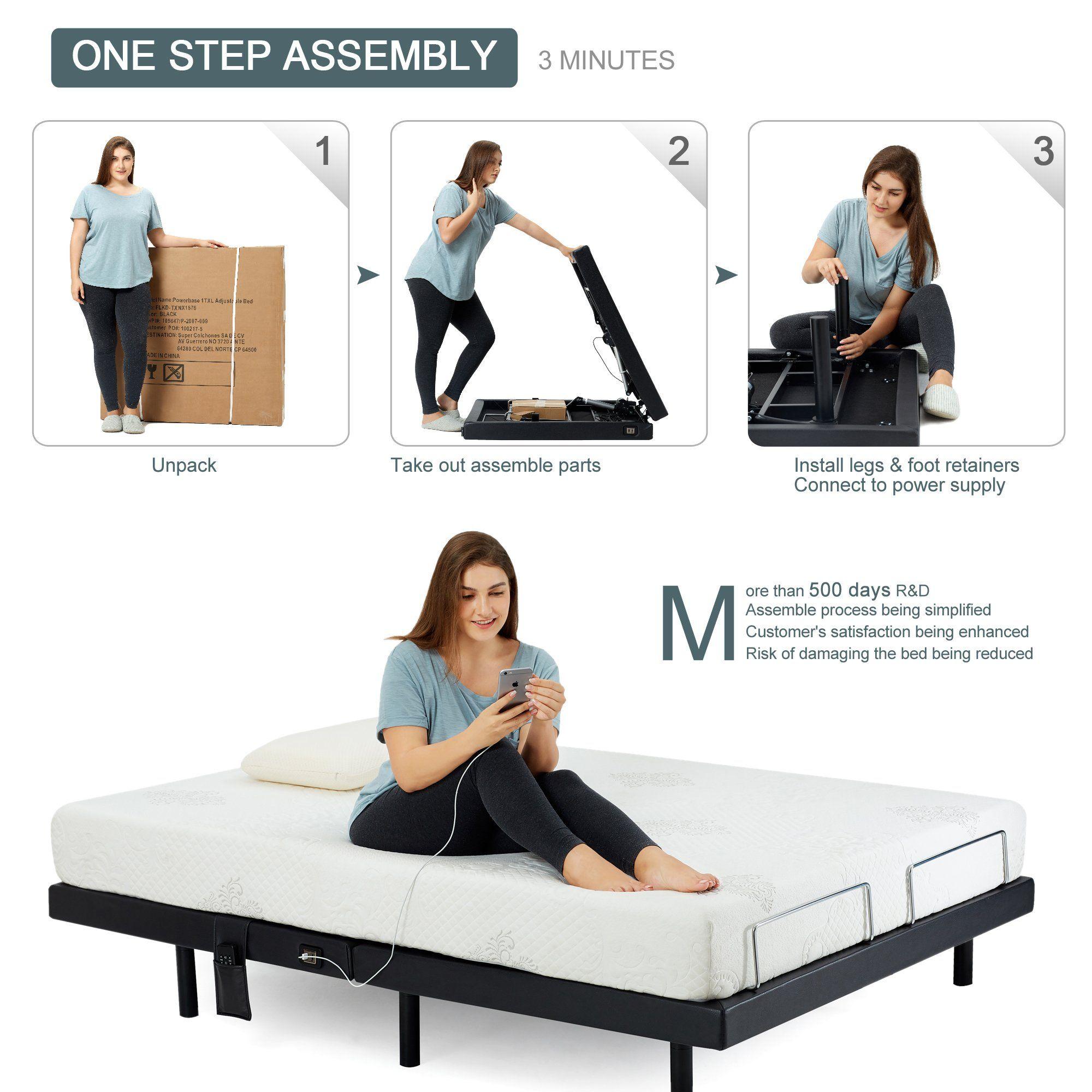 Hofish Adjustable Bed Base Onestep Assembly Dual Usb Portswireless