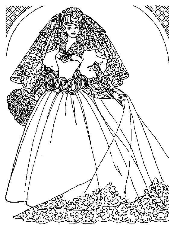 Coloriage barbie en robe de mariee coloriage et dessin - Robe barbie adulte ...