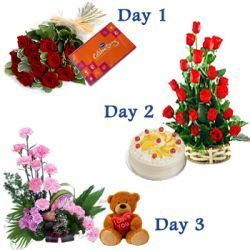 Excellent serenade combination - Day1: 12 red roses hand bouquet nicely wrapped in a cellophane with small cadbury celebration pack (approx wt. 139 gms.), Day2: Beautiful 20 red roses basket arrangement with 500 gms. Pineapple cake, Day3: Designer basket arrangement of 20 pink carnations with filler flowers along with cute 8 inch  I love You teddy bear (color and design may vary)- Send this exclusive  gift to your loved ones through us.