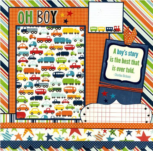 Oh boy premade scrapbook page