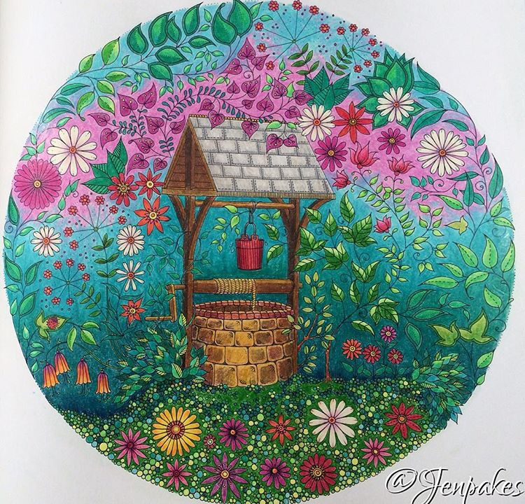 Johanna Basford - Secret Garden - wishing well | Coloring book ...