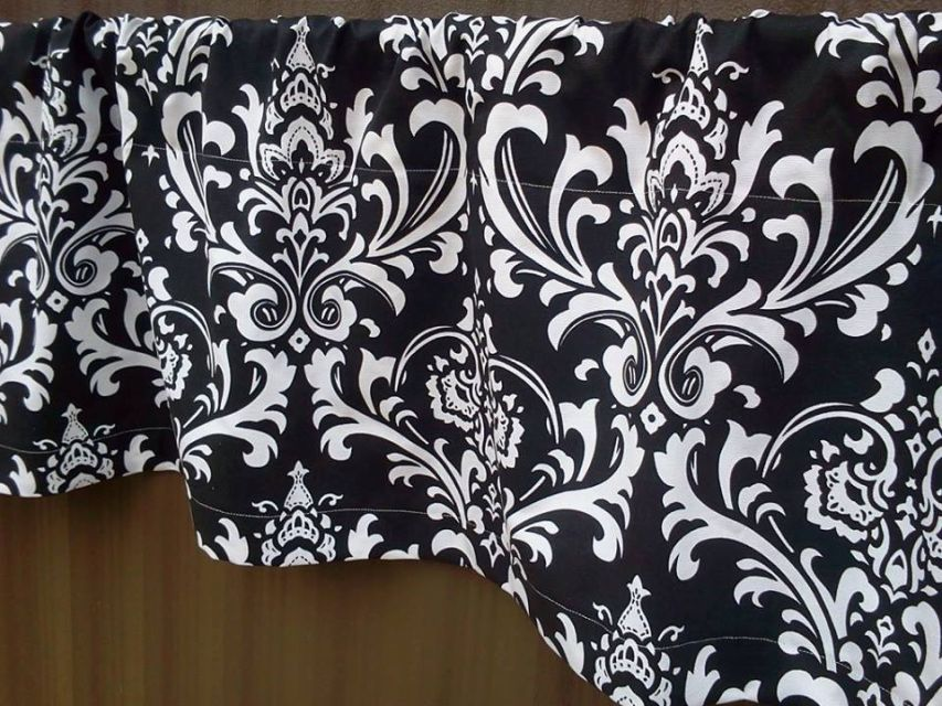 Beautiful Black And White Damask Valance Curtains