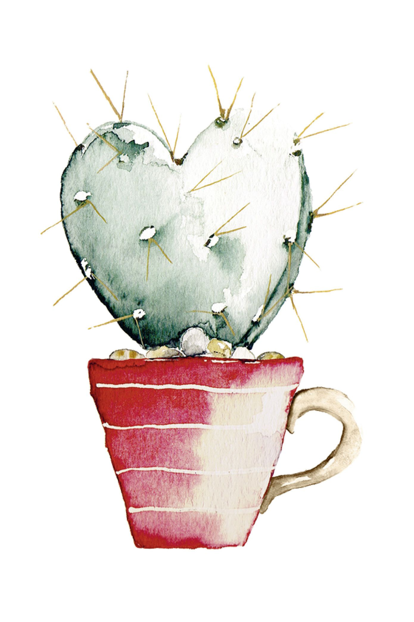 Cactus heart – Watercolor Postcard #valentinday #valentin #love #heart #cactus #cactusheart #herz #kaktus