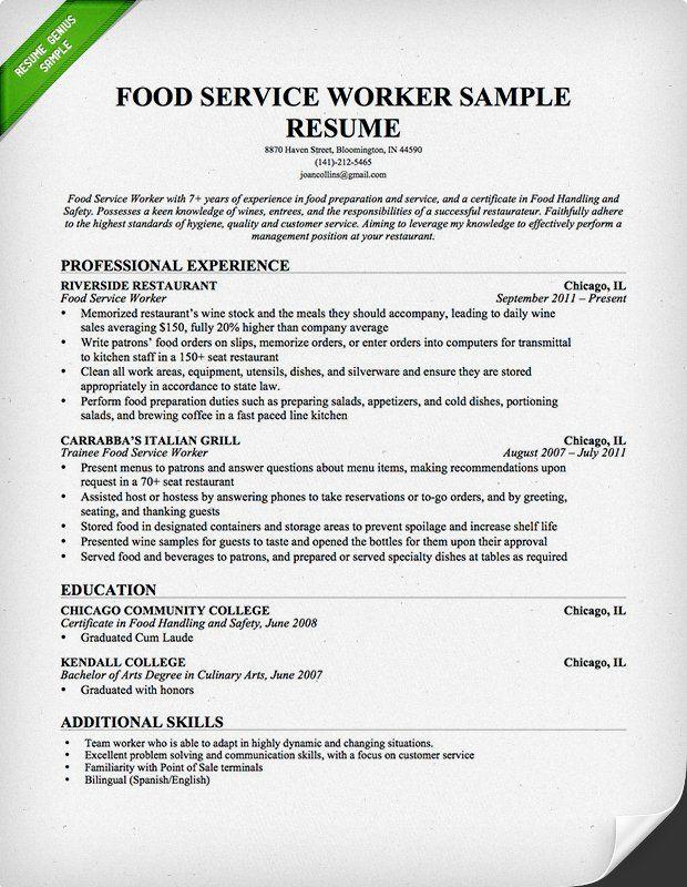 Food Service Resume -   wwwresumecareerinfo/food-service
