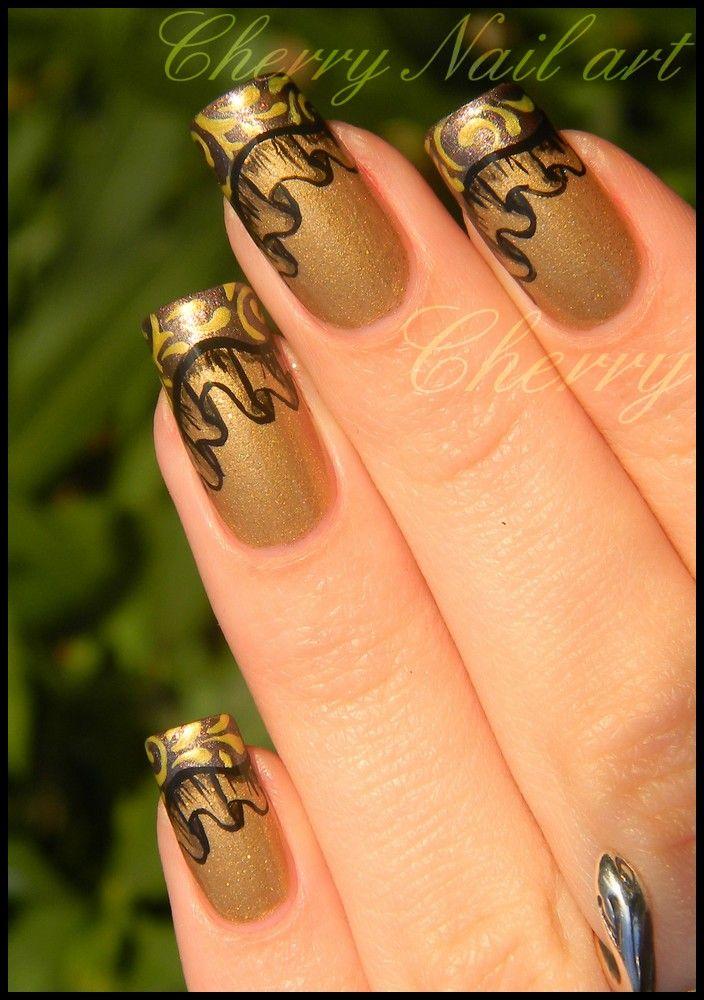Nail Art Drape Et French Baroque By Cherrynailart On Deviantart My