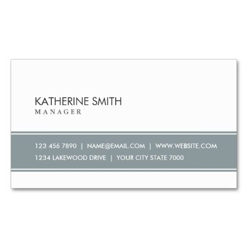Elegant Professional Plain Simple Gray and White Business Card
