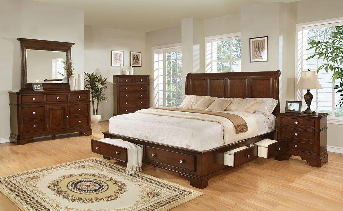 Lifestyle B3185 King Storage Bedroom Set Furniture Mattress
