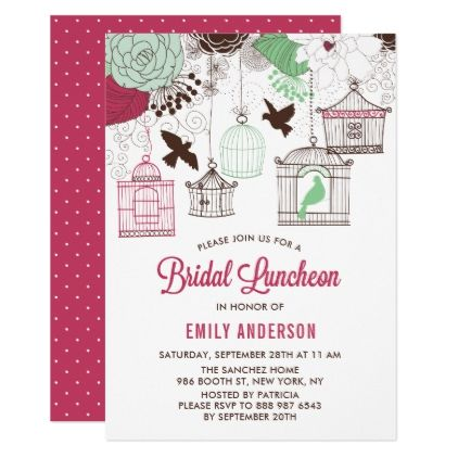 Rustic Red Green Bird Cages Bridal Luncheon Card Shower Gifts Ideas Wedding Bride