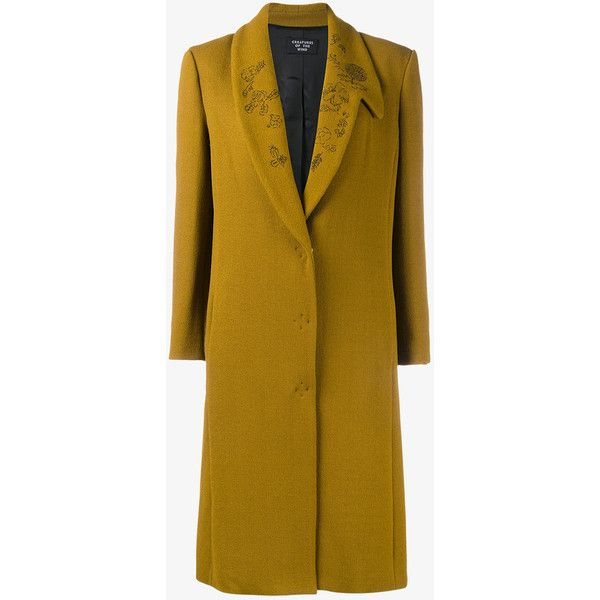CREATURES OF THE WIND Floral Lapel Virgin Wool Blend Coat (£1,255) ❤ liked on Polyvore featuring outerwear, coats, mustard yellow coat, shawl coat, lapel coat, mustard coat and long sleeve coat