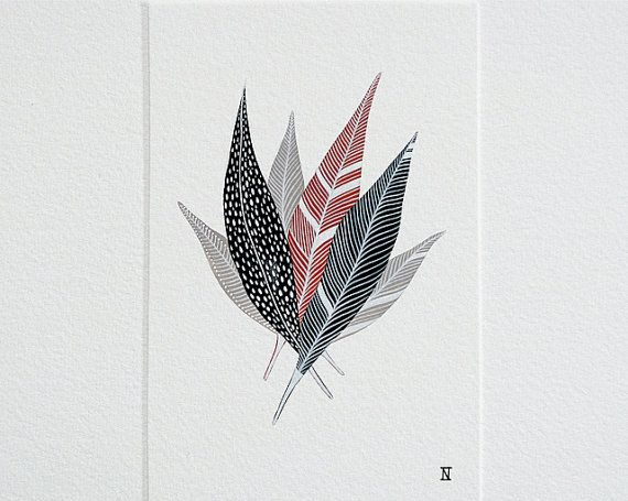 STUDIO SALE - Bundle of Feathers 3 - Original Nature Inspired Watercolor Painting on Paper - by Natasha Newton