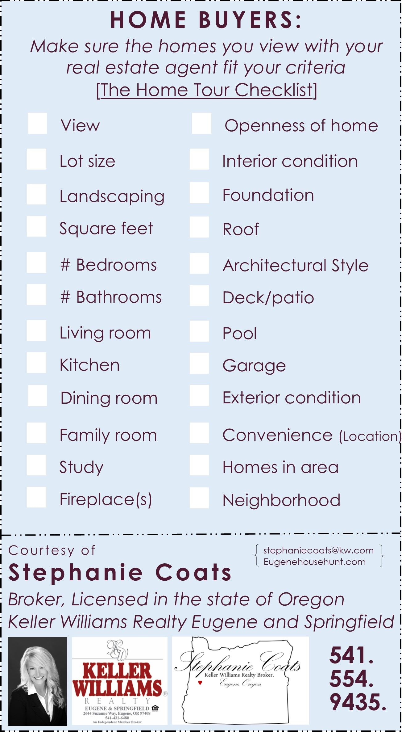 The Home Tour Checklist Home Buying Process House Tours Checklist