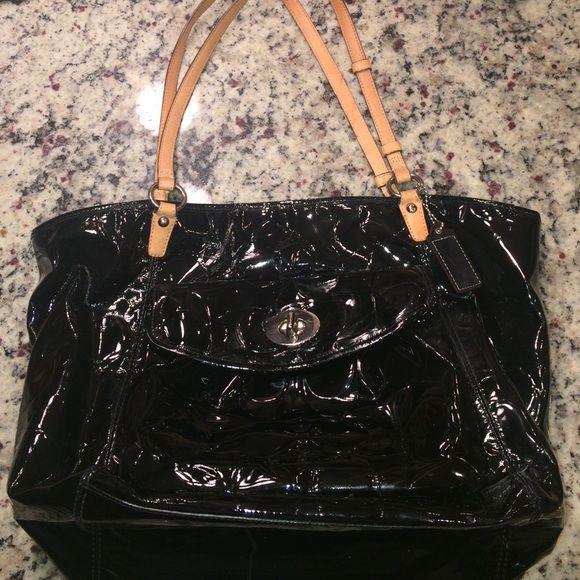 Hp Coach Black Patent Leather Purse