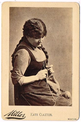 Actress Kate Claxton Knitting, by Miller of Boston