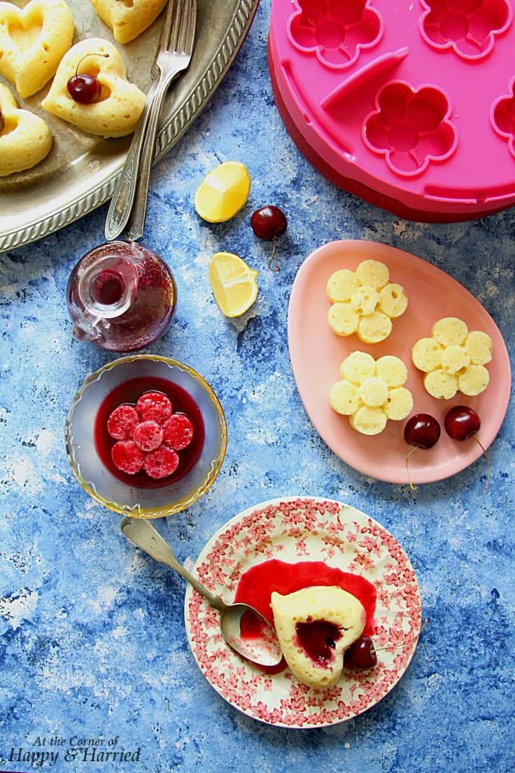 STEAMED MINI LEMON CAKES WITH FRESH CHERRY SYRUP HAPPYHARRIED