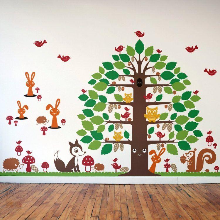 Kinderzimmer wandgestaltung wald  Wandtattoo im Kinderzimmer-beliebtes Waldbewohner Fuchs, Igel ...
