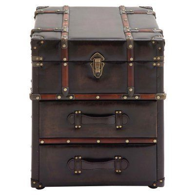 DecMode Trunk End Table with Drawers 55748 Products Trunks and