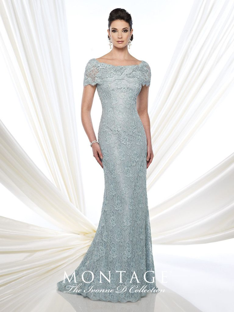 Lace Fit and Flare Gown With Short Sleeves - Ivonne D 215D03 ...